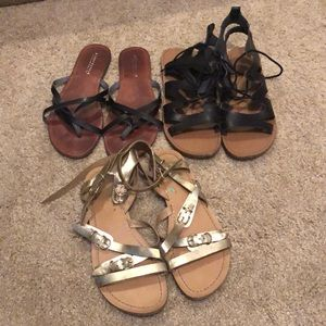 3 pairs of sandals. Super cute.Priced to sell sz 8